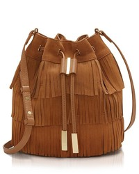 Tobacco Suede Bucket Bag
