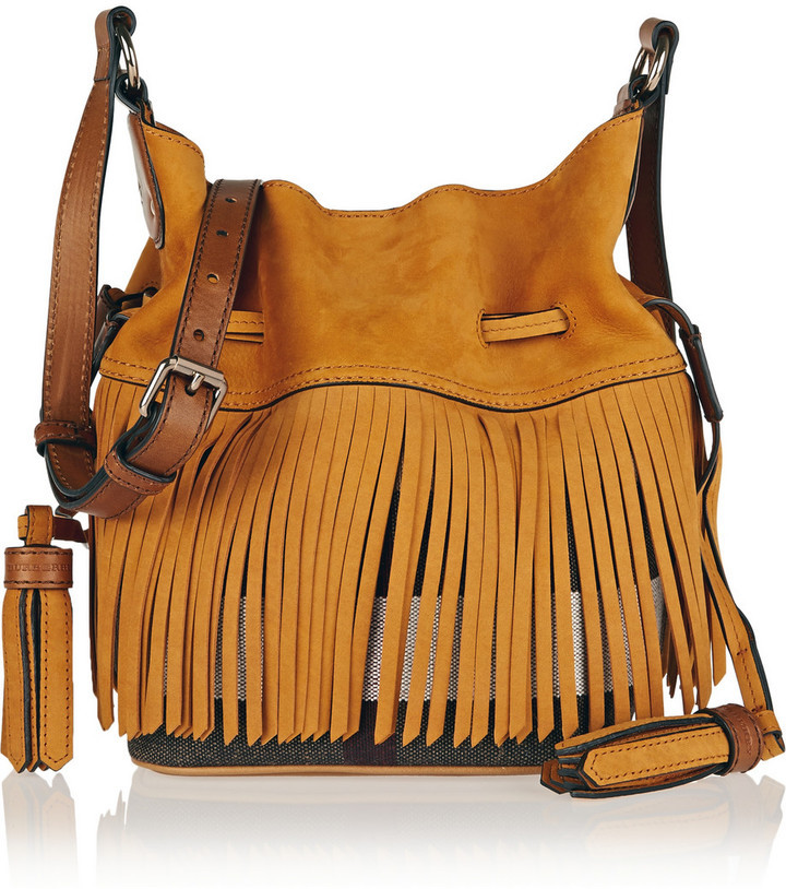 5c4be7780fd5 ... Burberry Burberry London Brit Fringed Suede and Checked Canvas Bucket  Bag