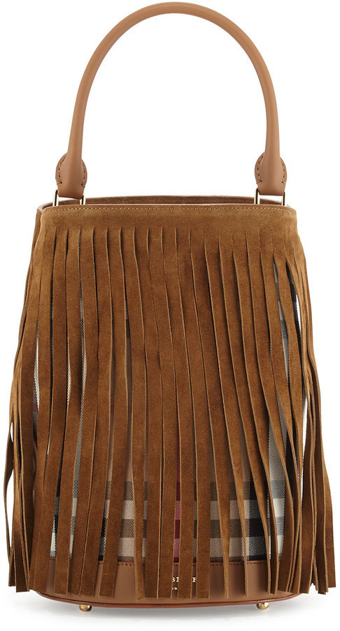 75a4ac12a933 ... Neiman Marcus › Burberry › Tobacco Suede Bucket Bags Burberry Prorsum  Suede Fringe Check Bucket Bag Dark Sand ...