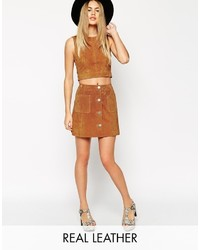 Asos Collection Co Ord Suede A Line Skirt With Button Through And Pocket Detail