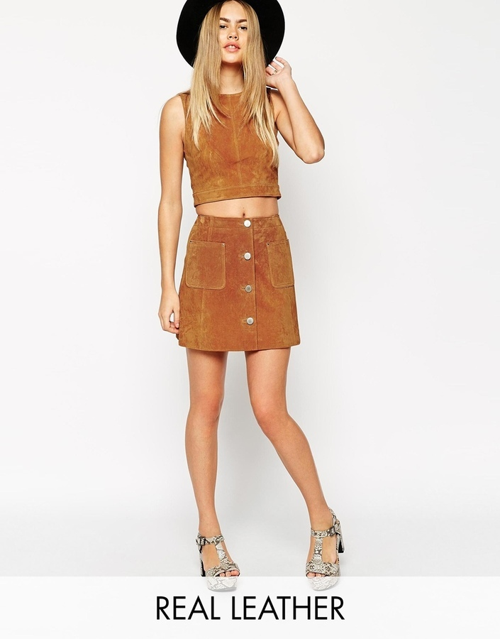 Asos Collection Co Ord Suede A Line Skirt With Button Through And ...