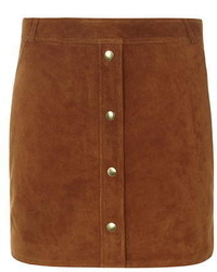 Dorothy Perkins Premium Tan Button Front Suede Skirt