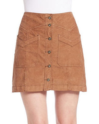 Faux suede button front skirt medium 374470