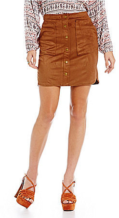 Jolt Faux Suede Pocket Button Front Skirt