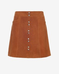 Exclusive for Intermix For Intermix Goat Suede Snap Mini Skirt