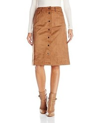 Glamorous Faux Suede Button Front Skirt