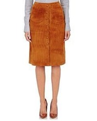 Barneys New York Mock Button Front Suede Skirt Brown