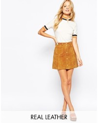 Monki A Line 70s Suede Skirt