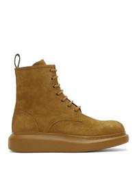 Alexander McQueen Beige Suede Lace Up Boots