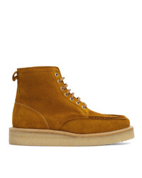 AMI Alexandre Mattiussi Brown Suede Square Toe Lace Up Boots