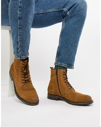 Jack & Jones Suede Lace Up Boot In Tan