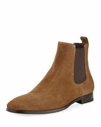 Ermenegildo Zegna Rodrigo Suede Chelsea Boot Medium Brown