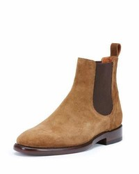 Frye Weston Suede Chelsea Boot Chestnut