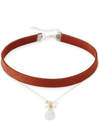 Nakamol Double Strand Suede Moonstone Choker Necklace Black