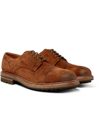 Brunello Cucinelli Cap Toe Burnished Suede Derby Shoes
