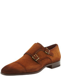 35a0410ec7e4 ... Magnanni Suede Cap Toe Double Monk Shoe