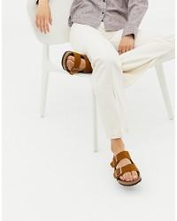 Birkenstock Arizona Suede Flat Sandals In Mink
