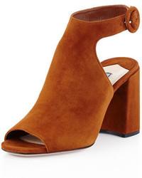 Prada Suede Block Heel Ankle Strap Sandal