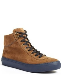 Tobacco Suede High Top Sneakers