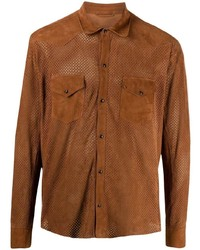 Tagliatore Perforated Long Sleeved Shirt