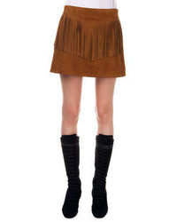 Fringed suede a line skirt medium 248435
