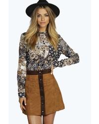 Boohoo Mya Suedette Contrast Trim Button Through Skirt