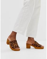 ASOS DESIGN Trick Heeled Mule Sandals In Leopard