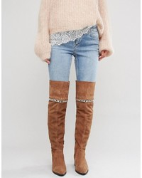 Asos Keeta Suede Chain Over The Knee Boots