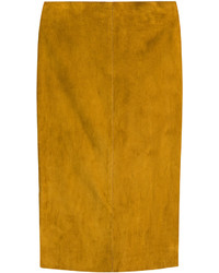 Tobacco Suede Pencil Skirt