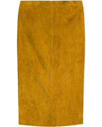 Tobacco Suede Pencil Skirt