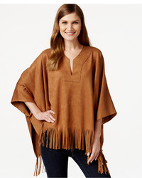 Faux suede fringe poncho medium 344727