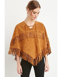 Forever 21 Genuine Suede Fringed Poncho
