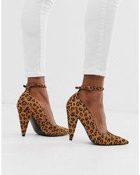 ASOS DESIGN Producer Premium Leather High Heeled Court Shoes In Leopard