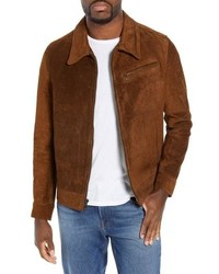 Schott NYC Unlined Rough Out Oiled Cowhide Trucker Jacket