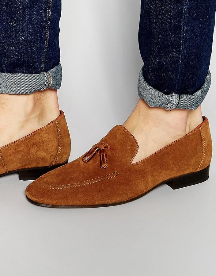 Red Tape Tassel Loafers In Tan Suede
