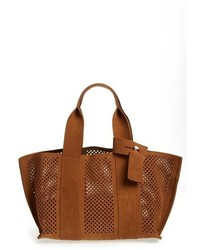 Castoro perforated suede tote brown medium 620070