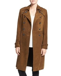 Rebecca Minkoff Amis Double Breasted Suede Trench Coat