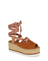 See by Chloe Glyn Amber Platform Ankle Wrap Sandal