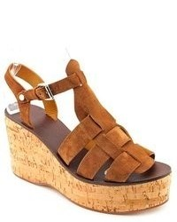 Polo Ralph Lauren Chandra Brown Suede Wedge Sandals Shoes