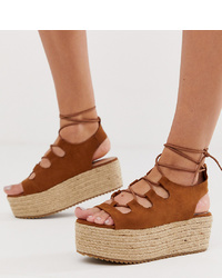 New Look Suedette Lace Up Flatform Sandal In Tan