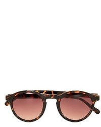Topman 44mm Round Sunglasses Light Brown