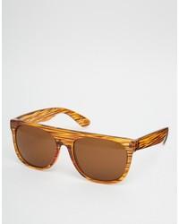 Asos Brand Flatbrow Sunglasses In Stripey Tort
