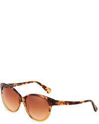 Diane von Furstenberg Martha Two Tone Acetate Cat Eye Sunglasses Demi Brown