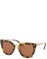 Prada Gradient Metal Trim Geometric Cat Eye Sunglasses