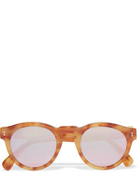 Illesteva Leonard Round Frame Tortoiseshell Acetate Mirrored Sunglasses Brown