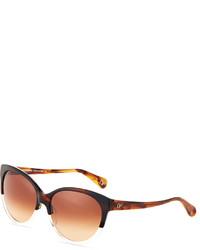 Diane von Furstenberg Martha Two Tone Acetate Cat Eye Sunglasses Demi Clear