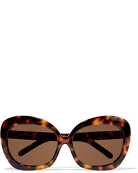 Linda Farrow Oversized Square Frame Acetate And Gold Sunglasses Brown