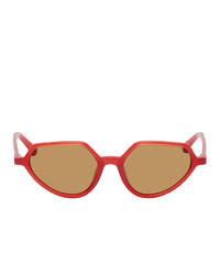 Dries Van Noten Red And Brown Linda Farrow Edition 178 C6 Sunglasses