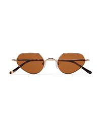 Dries Van Noten Round Frame Gold Tone And Tortoiseshell Acetate Sunglasses