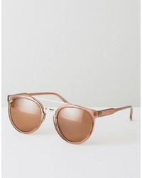 Asos Round Sunglasses In Crystal Brown With Gold Nose Bar